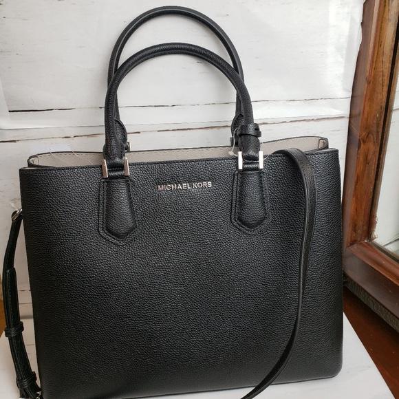d318e6bae7ba Michael Kors Bags | Adele Black Lg Satchel Shoulder Bag | Poshmark